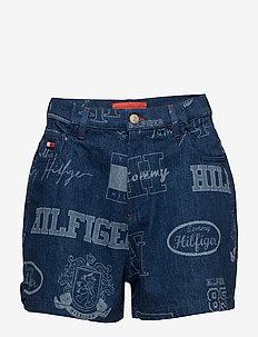 LOGO MANIA SHORT - korte jeansbroeken - indigo