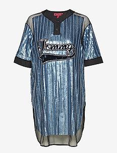 SEQUINED BASEBALL SHIRT DRESS SS - t-shirtkjoler - forever blue / multi