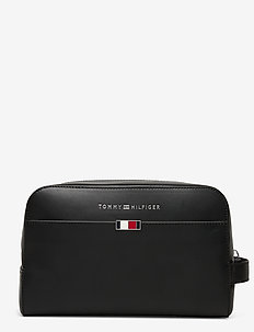 BUSINESS LEATHER WASHBAG - BLACK