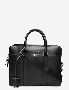 BUSINESS LEATHER SLIM COMP BAG - laptop bags - black