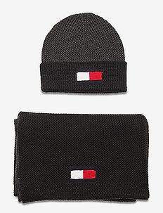 BIG FLAG SCARF & BEANIE - bonnet - dark ash