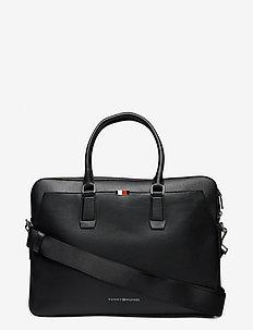 BUSINESS LEATHER SLIM COMP BAG - laptoptassen - black