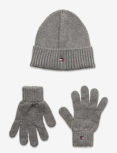 FLAG KNIT BEANIE & GLOVES GP - hats - light grey heather