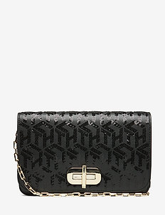 TURNLOCK CLUTCH SEQU - BLACK MONOGRAM SEQUINS