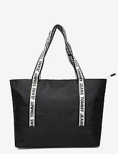 TJW LOGO TAPE NYLON TOTE - casual shoppers - black