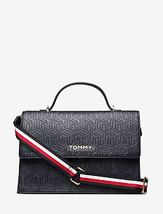 TOMMY PARTY SATCHEL - T. NAVY EMBOSSED MONOGRAM