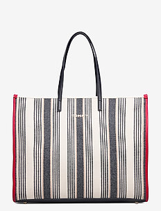 TOMMY BEACH BAG STRI - fashion shoppers - black / white mix