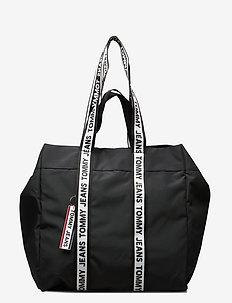 TJW LOGO TAPE TOTE N - casual shoppers - black
