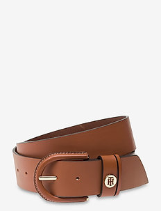 HIGH WAIST OVAL BUCKLE BELT 4.5 - bælter - cognac