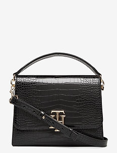 TH LOCK SATCHEL CROCO - schoudertassen - black croco