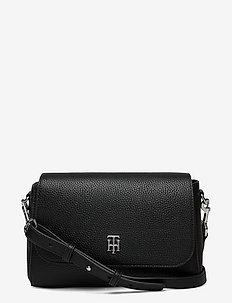TH ESSENCE FLAP CROSSOVER - crossbody bags - black