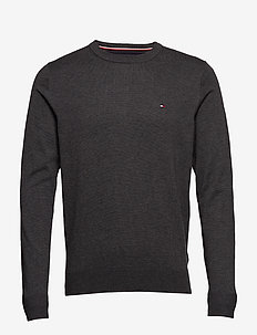 CORE COTTON-SILK CNECK - tricots basiques - charcoal htr