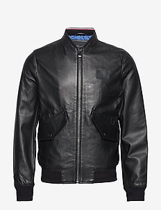 2 MB PERFORATED LEATHER BOMBER - JET BLACK