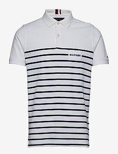 aa3218d1 ENG BRETON STRIPE SLIM POLO - BRIGHT WHITE / SKY CAPTAIN. 40%. Tommy  Hilfiger