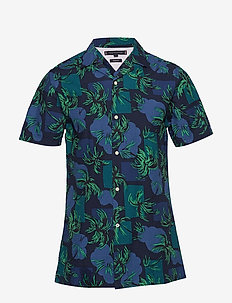 PALM TREE PRINT SHIRT S/S - kortærmede skjorter - night sky / multi