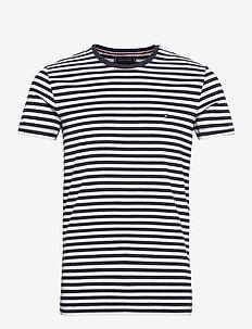 STRETCH SLIM FIT TEE - kortärmade t-shirts - sky captain / bright white