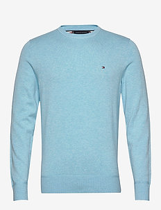 ORGANIC COTTON SILK CREW NECK - rund hals - sail blue heather