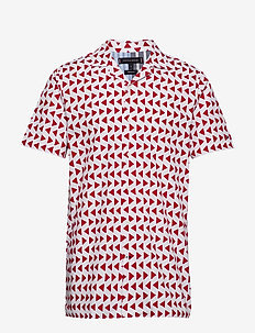 BOLD GEO PRINT SHIRT - BRIGHT WHITE / HAUTE RED