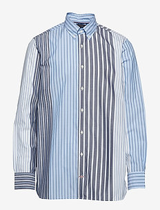 RELAXED MIXED STRIPE - casual shirts - cornflower blue / multi