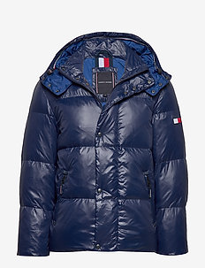 SHINY HOODED BOMBER - padded jackets - maritime blue