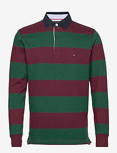 ICONIC BLOCK STRIPE RUGBY - long-sleeved polos - deep burgundy / hunter