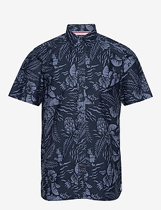 LARGE SEASONAL PRINT SHIRT S/S - short-sleeved shirts - desert sky / faded indigo
