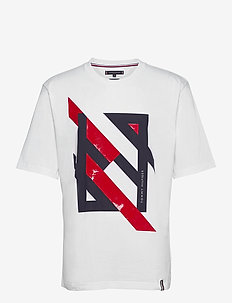 DECONSTRUCTED STRIPE RELAX TEE - t-shirts à manches courtes - white