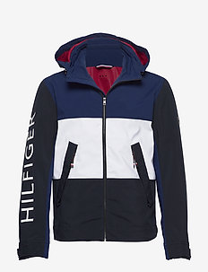 FLEX COLOUR BLOCK HOODED BLOUSON - blue ink