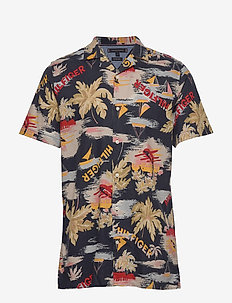 HAWAIIAN PRINT SHIRT S/S - short-sleeved shirts - desert sky / silver brich / multi