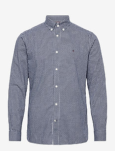 COTTON CASHMERE CHK DOBBY SHIRT - casual-paidat - carbon navy / white