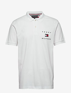 TOMMY FLAG HILFIGER REG POLO - polos à manches courtes - white