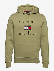 TOMMY FLAG HILFIGER HOODY - hettegensere - faded olive