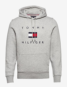 TOMMY FLAG HILFIGER HOODY - hoodies - medium grey heather