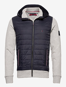MIXED MEDIA HOODED ZIP THROUGH - padded jackets - medium grey heather