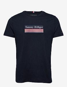 STRIPED WOVEN LABEL TEE - short-sleeved t-shirts - desert sky