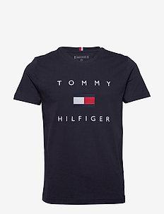 TOMMY FLAG HILFIGER TEE - krótki rękaw - desert sky