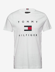 TOMMY FLAG HILFIGER TEE - short-sleeved shirts - white