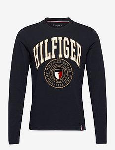 HILFIGER VARISTY LONG SLEEVE TEE - long-sleeved t-shirts - desert sky