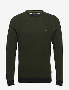 MOULINE STRUCTURE CREW NECK - basic strik - camo green