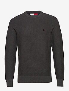 BOLD TEXTURED COTTON SWEATER - basic-strickmode - charcoal heather