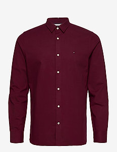 SLIM FLEX HERRINGBONE SHIRT - casual shirts - deep burgundy heather