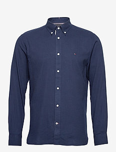 COTTON CASHMERE SHIRT - casual shirts - carbon navy