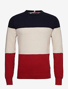 COLOR BLOCK SWEATER - pulls col rond - arizona red