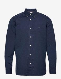 NATURAL SOFT END ON END SHIRT - chemises de lin - carbon navy / sea steel