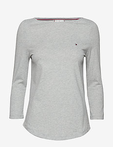 LUCY BOAT-NK TOP 3/4 - LIGHT GREY HTR