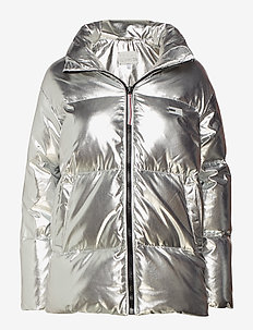 TOMMY ICONS HIGH GLOSS PUFFER - SILVER