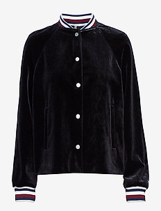 ICON VELVET BOMBER, - bomber jacks - black beauty