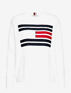 TH ESSENTIAL FLAG SWEATER - SNOW WHITE