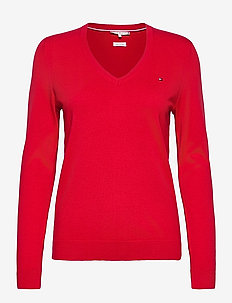 HERITAGE V-NK SWEATER - jumpers - apple red