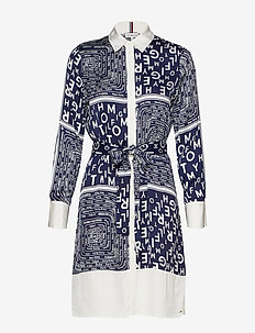 FLORENCE SHIRT DRESS - SCARF PRT / MEDIEVAL BLUE